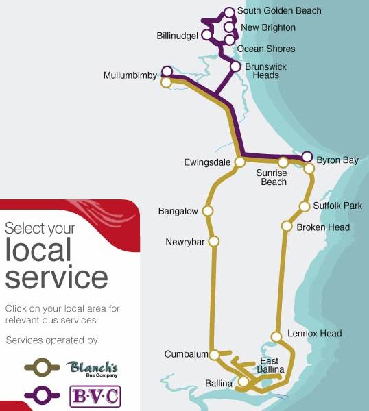 mapa do transporte público de Byron Bay