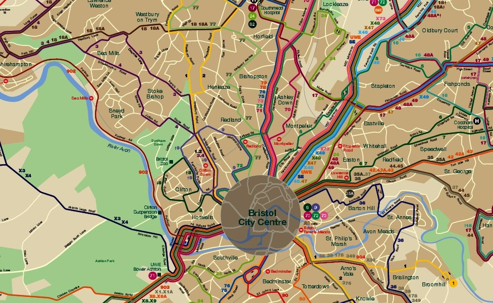 public transport map thumbnail of Bristol
