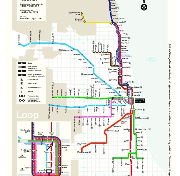 public transport map thumbnail of Chicago