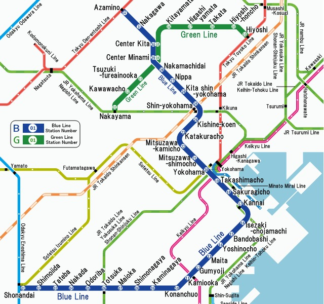 public transport map thumbnail of Yokohama