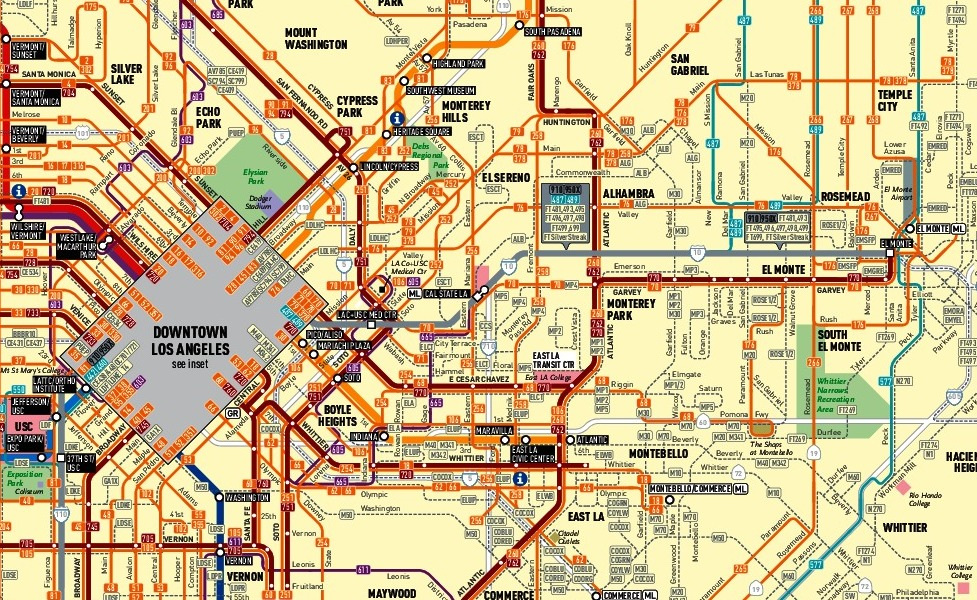 public transport map thumbnail of Los Angeles