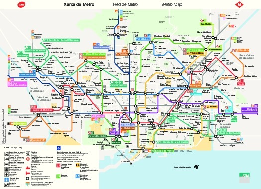 mapa do transporte público de Barcelona