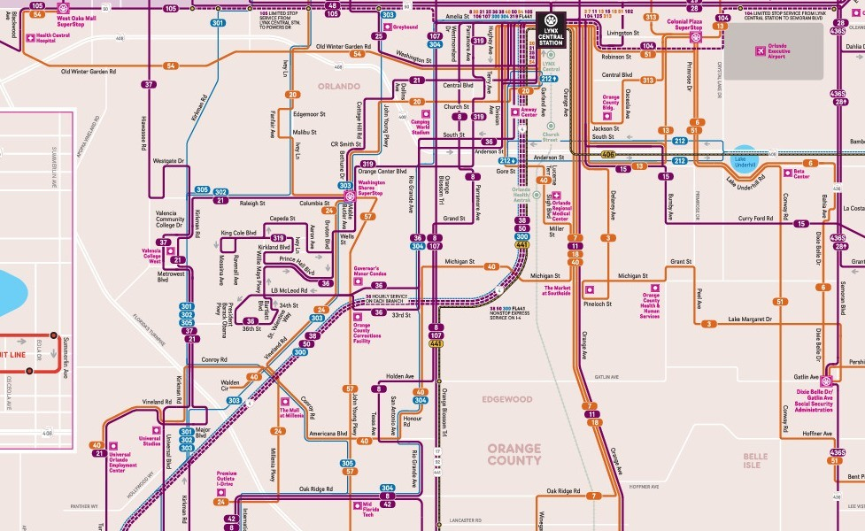 public transport map thumbnail of Orlando