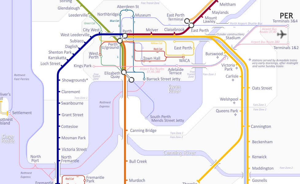 public transport map thumbnail of Perth