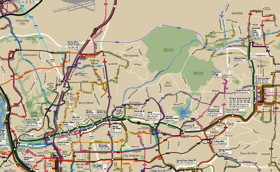 public transport map thumbnail of San Diego
