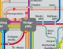Augsburg Public Transport Map